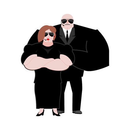 Bodyguard Marrieds family. husband and wife in Black suit and hands-free. Security newlyweds. spouses Protection and professional teamwork. couple Strong guard at nightclub. Illustration