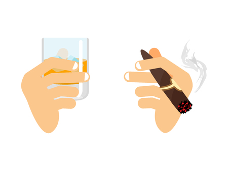 bourbon: Hand and whiskey with ice. glass of scotch, bourbon. Arm with cigar isolated. Men and holding smoke cigarette. Finger and Havana Illustration