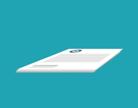 Documents isolated. Stack of paper forms. Business Document on blue background Illustration
