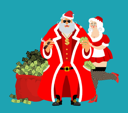 tough man: Cool Rich Santa and girl. Red bag with money. Claus with cigar after work relax. Pocketful of cash. Earnings for Christmas. tough old man and Mrs. Claus. Xmas gainings. New Year income wealth. well-earned. Gold dollar on chain