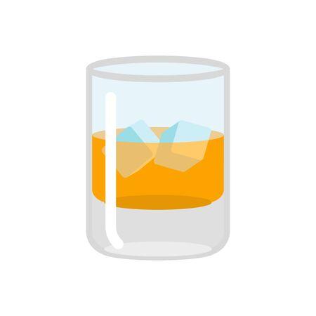 scotch: Whiskey and ice. Glass of scotch on rocks. Drink on white background. alcohol illustration