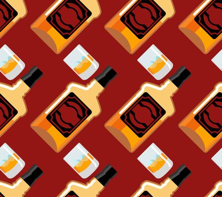 bourbon: Bottle Scotch seamless pattern. Glass of whiskey and ice ornament. bourbon background. Drink backdrop. Alcohol texture