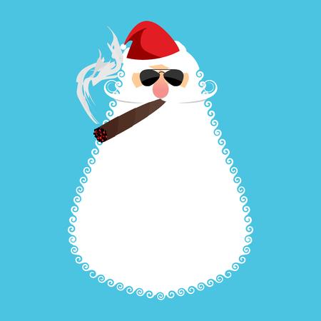 cigar smoking man: Bad Santa Claus smoking cigar. Poor old man smokes. Illustration for Christmas and New Year Illustration