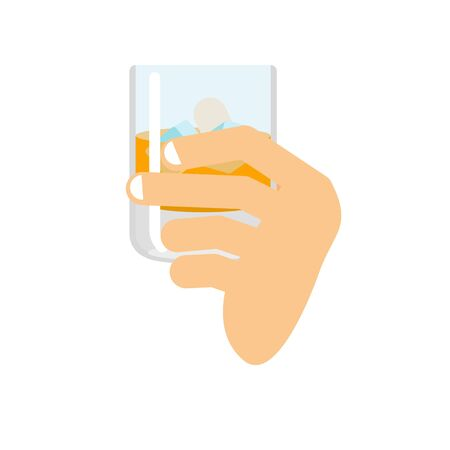Hand holding whiskey and ice. Fingers and glass of scotch. Drink on white background. Alcohol illustration
