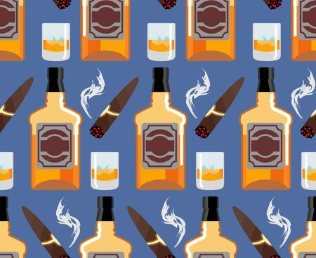 havana cigar: Whiskey with ice seamless pattern. Gentleman background. Bottle of scotch texture. Cigar smoke ornament. bar backdrop