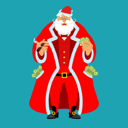 Rich Santa Claus and lot of money. Pocketful of cash. Earnings for Christmas. Cool old man after work. Xmas income. New Year emolument wealth