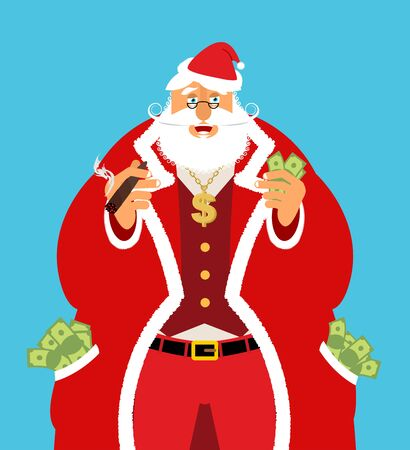 emolument: Rich Santa Claus and lot of money. Pocketful of cash. Earnings for Christmas. Cool old man with cigar after work. Xmas income. New Year emolument wealth Illustration
