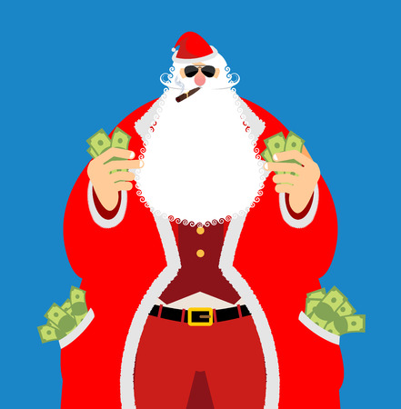 emolument: Rich Santa Claus and lot of money. Pocketful of cash. Earnings for Christmas. Cool old man after work. Xmas income. New Year emolument wealth