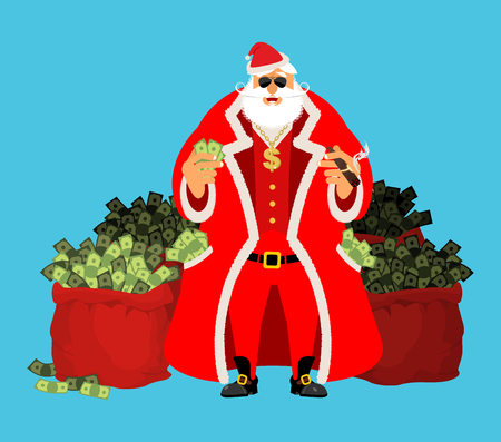 Cool Santa and red bag with money. Claus after work. Pocketful of cash. Earnings for Christmas. Rich old man. Xmas gainings. New Year income wealth. well-earned