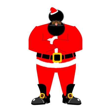 Grumpy black Santa. Angry African Claus. irate Christmas Aframerican. Bad guy for new year. Xmas tough