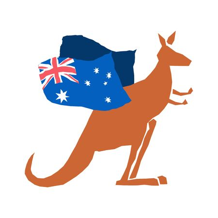 Australia Day emblem holiday. Kangaroos and Australian flag. Logo for traditional feast