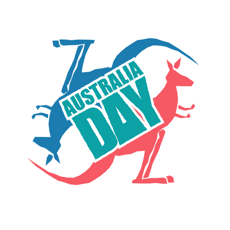 Australia Day. Traditional Australian patriotic holiday. Kangaroo national animal of country. January 26