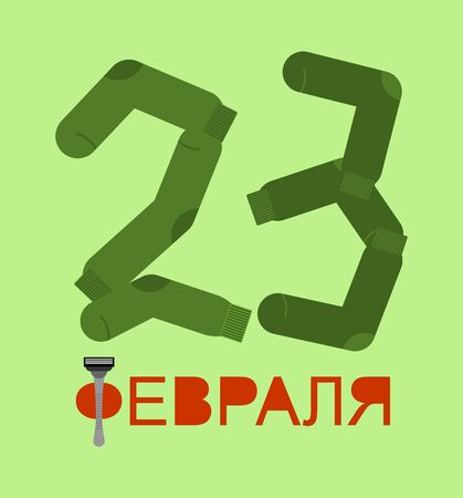 February 23 - text Russian. number from socks. Sock and razor-traditional gift for Defenders of Fatherland Day in Russia Ilustração Vetorial