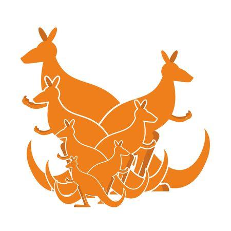 australian animals: Kangaroo family. kind of Australian wallaby. herd of wild animals in Australia Illustration