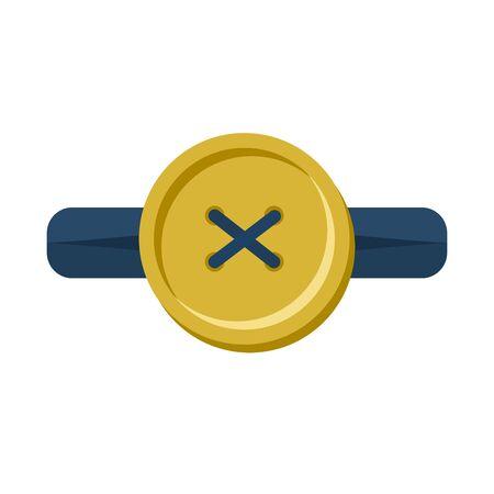 Button in Knopfloch isoliert. Zubehör für Kleidung auf weißem Hintergrund