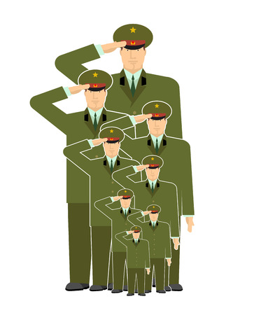 Military family. Relatives of soldiers. Army stirpes. Russian officers in uniform. Illustration for Defenders of Fatherland Day. Military holiday in Russia. February 23 Illustration