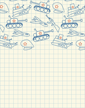February 23. Greeting card. Hand drawing in notebook paper. Military holiday in Russia. Defenders of Fatherland Day