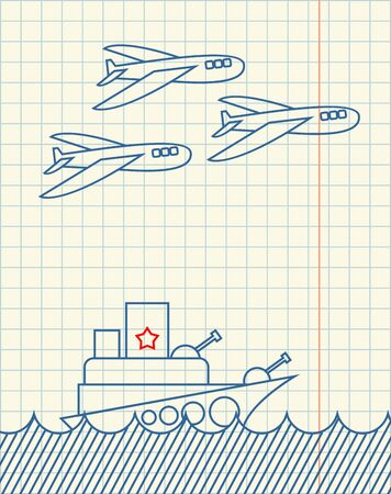 Warship and military aircraft Hand drawing in notebook paper. February 23. Greeting card. Army holiday in Russia. Day Defenders of Fatherland