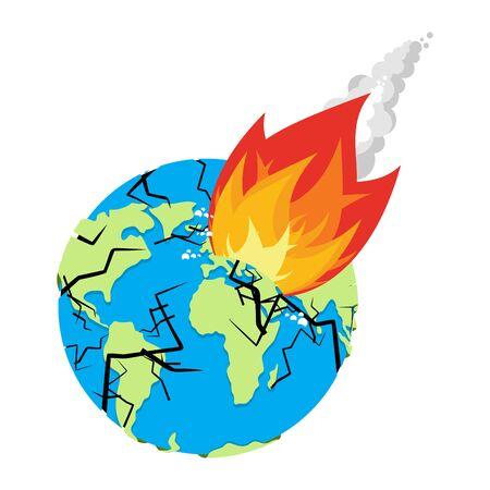 armageddon: Meteorite crashing Earth. Planet is in danger. armageddon and Disaster. Catastrophe. Big fire asteroid Destruction of globe