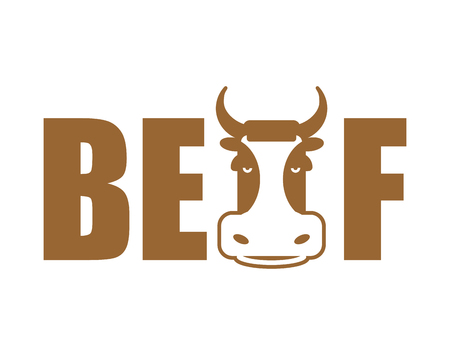 Beef lettering emblem. Head cow and letters isolated