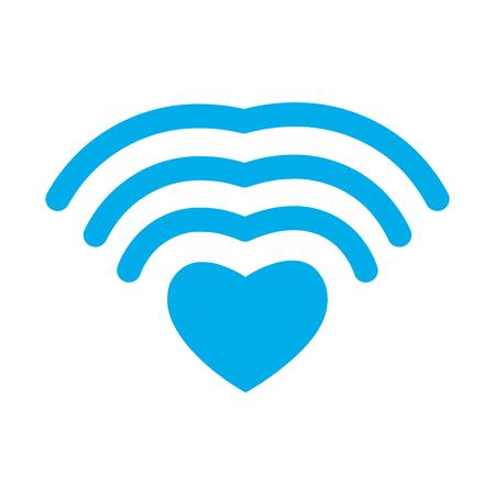 Wi-fi love. WiFi heart. Wireless communication for lovers. romantic button