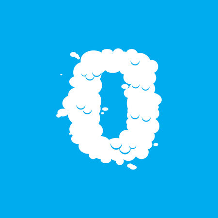 Number 0 cloud font symbol. White Alphabet sign zero on blue sky