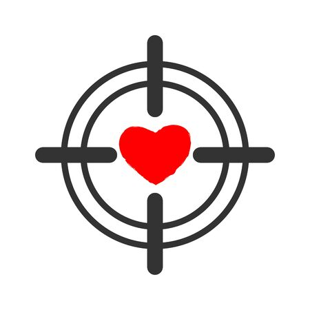 Heart sight. aim and love. Illustration for Valentines Day