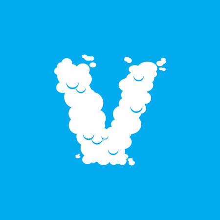 Letter V cloud font symbol. White Alphabet sign on blue sky
