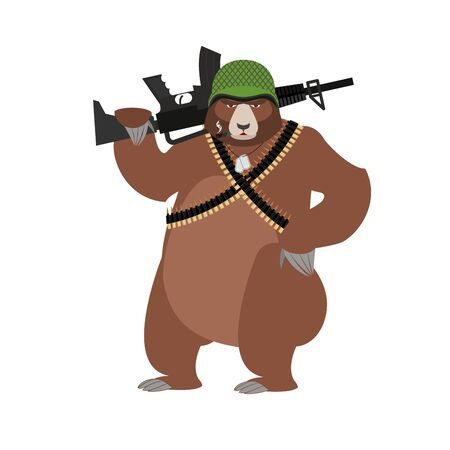 Bear soldiers. Grizzly military. Wild animal with un. Beast Warrior in helmet