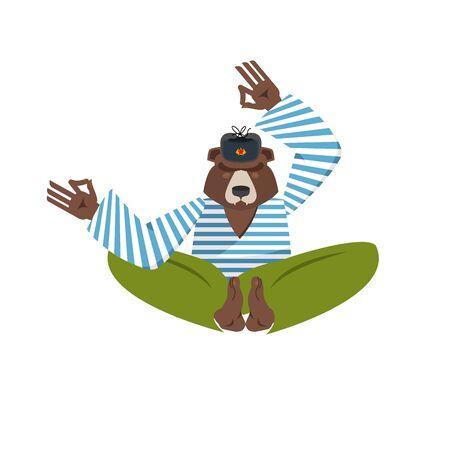 Russian yoga. Yogi Bear. Russia wild animal zen and relaxation