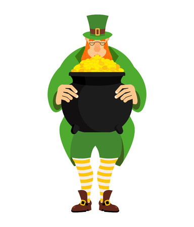 Leprechaun and pot of gold. dwarf in green clothes and boiler of golden coins. St.Patrick s Day. National Holiday in Ireland