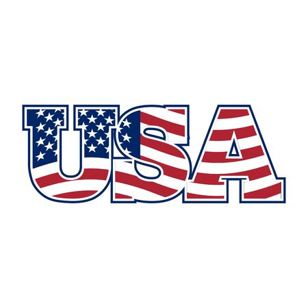 USA lettering. Flag of America and letters. National sign