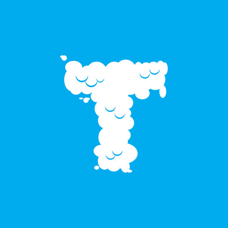 Letter T cloud font symbol. White Alphabet sign on blue sky