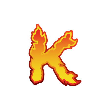 Letter K fire. Flames font lettering. Tattoo alphabet character. fiery sign alphabet