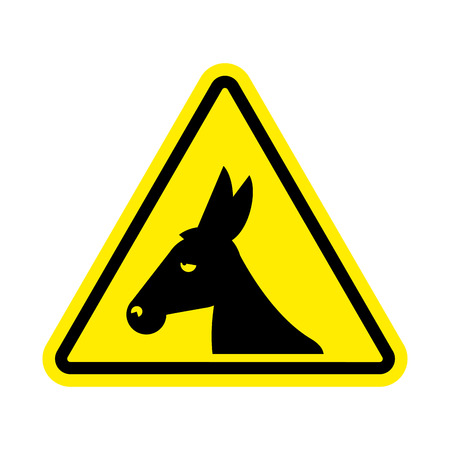 Attention donkey driving. jackass on yellow triangle. Road sign attention stupid loser Illustration