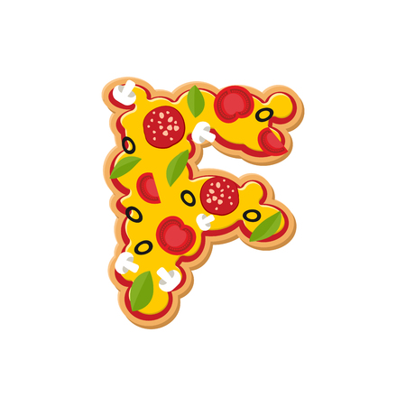 Letter F pizza font. Italian meal alphabet. Lettring fast food