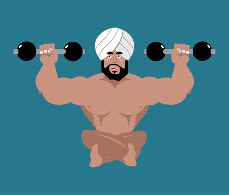 sikh: Indian sportsman. Fitness athlete from India. Yoga with dumbbells. Bodybuilder in turban Illustration