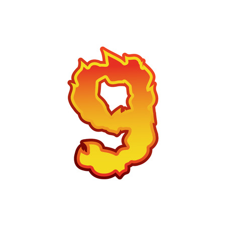 Number 9 fire. Flames Font nine. Tattoo alphabet character. fiery sign ABC