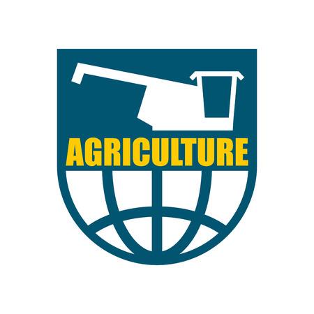 harvester: Agriculture logo. harvest emblem. combine harvester and Earth. Farm sign Illustration