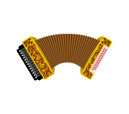 Accordion isolated. Russian National Folk Musical Instruments Illustration