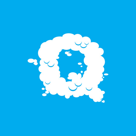 Letter Q cloud font symbol. White Alphabet sign on blue sky Illustration