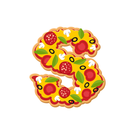 Letter S pizza font. Italian meal alphabet. Lettring fast food