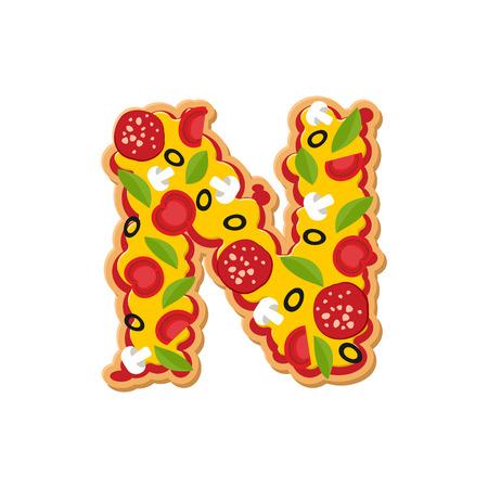 Letter N pizza font. Italian meal alphabet. Lettring fast food Illustration