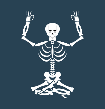 Skeleton yoga. yogi Dead. Zen and relaxation. lotus Pose Illustration