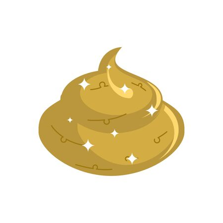 Gold shit  isolated. Expensive Turd. Poop golden treasure