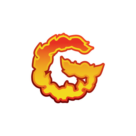 Letter G fire. Flames font lettering. Tattoo alphabet character. fiery sign alphabet Illustration