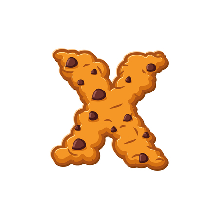 X letter cookies. Cookie font. Oatmeal biscuit alphabet symbol. Food sign ABC