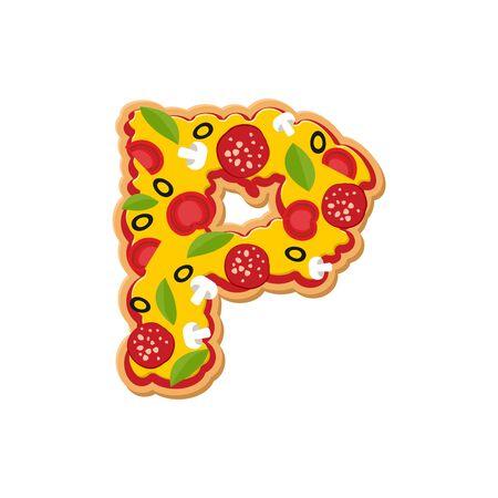 freshly: Letter P pizza font. Italian meal alphabet. Lettring fast food