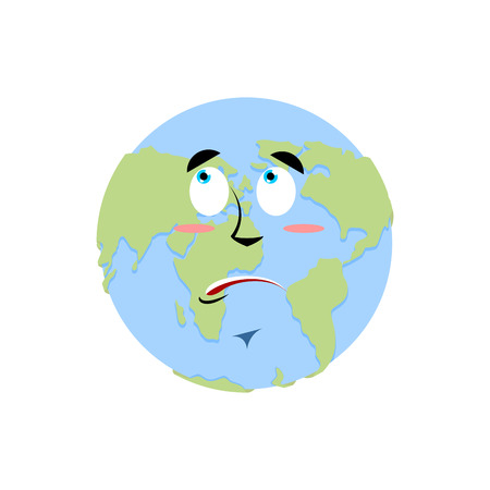 Earth surprise Emoji. Planet  amaze emotion isolated Illustration