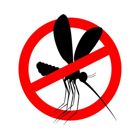 모기를 멈춰라. 빨간색 금지 기호입니다. 곤충 금지 일러스트